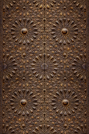 arabic: Decorative Islamic Wood Art Door Background