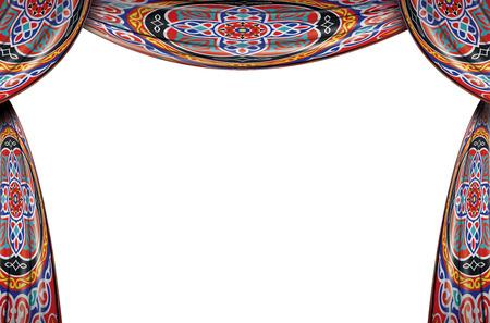cortinas: Festive Ramadán Cortinas conjunto completo aislado en el fondo blanco