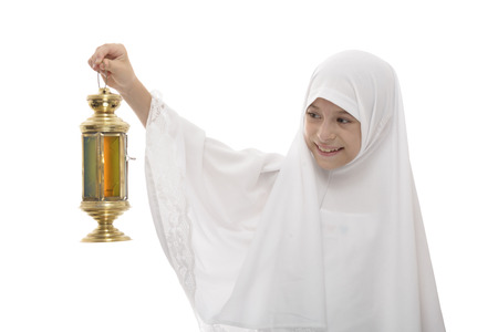 white girl: Happy Muslim Girl Celebrating Ramadan with Festive Lantern Isolated on White Background
