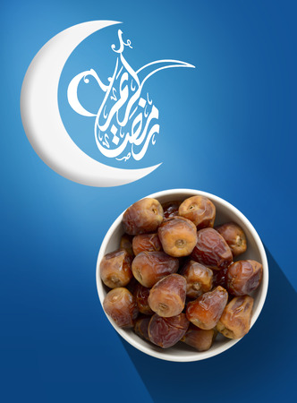 crescent: Ramadan Fasting Dates with Crescent over Vivid Blue Background