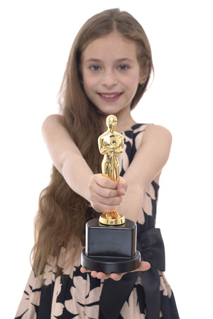 oscar: Proud Winner Girl With Trophy Isolated on White Background