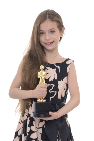 nominations: Beauty Girl With Trophy Isolated on White Background