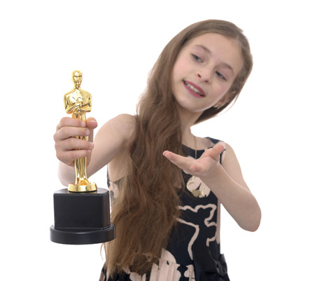 oscar: Winner Girl With Trophy Isolated on White Background