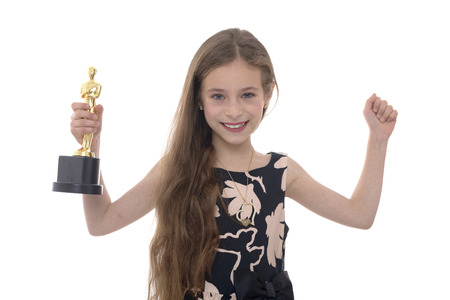 oscar: Hands Up Girl With Trophy Isolated on White Background