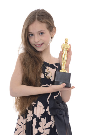 nominations: Winner Girl With Award Isolated on White Background