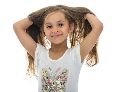 Portrait of Young Girl With Beautiful Hair Isolated on White Background