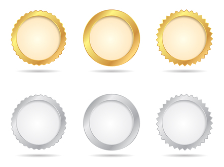 signatory: Vector Badges of Gold And Silver Seal Sets Illustration