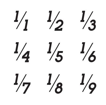 Vector Matemáticas Fracciones iconos en el fondo blanco