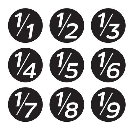 Vector Matemáticas Fracciones iconos en el fondo blanco Ilustración de vector