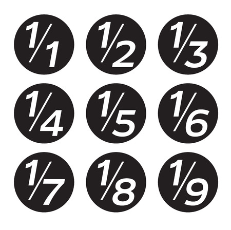 Vector Math Fractions Icons on White Background