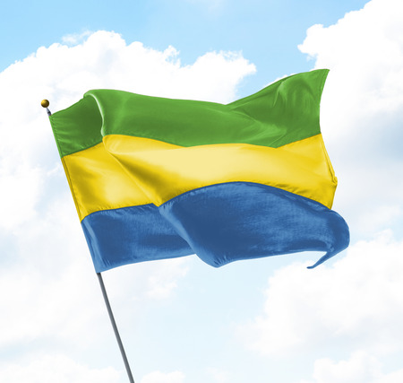 Flag of Gabon Raised Up in The Sky