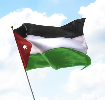 Flag of Jordan Raised Up in The Sky