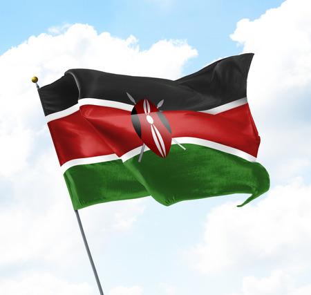 Flagge von Kenia hoch oben in den Himmel