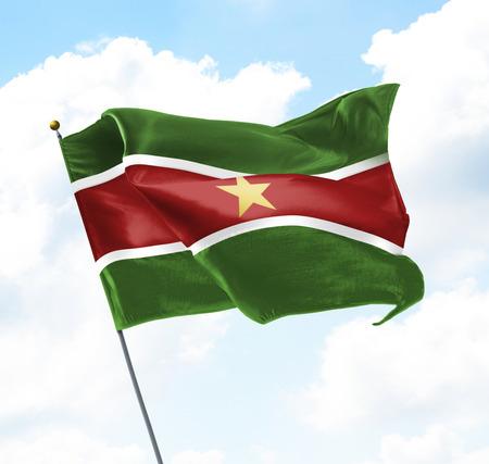 gewerkschaft: Flag of Suriname Raised Up in The Sky Lizenzfreie Bilder