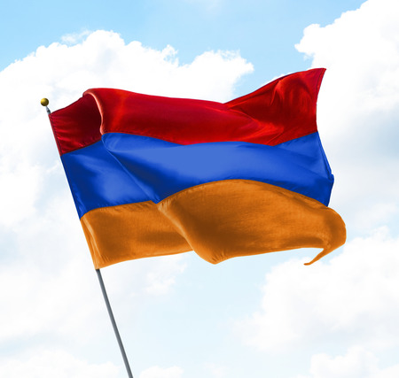 Flag of Armenia Raised Up in The Sky