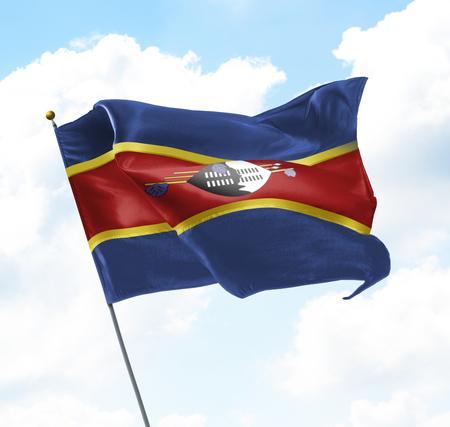 gewerkschaft: Flagge von Swasiland Aufgewachsen in den Himmel