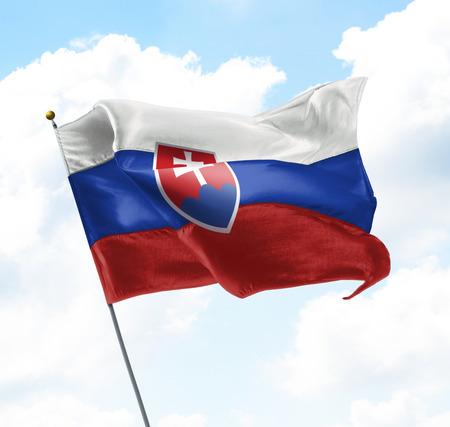 Flag of Slova Raised Up in The Sky