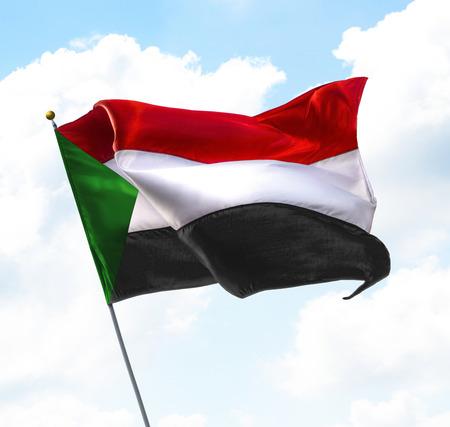 gewerkschaft: Flagge von Sudan Aufgewachsen in den Himmel Lizenzfreie Bilder