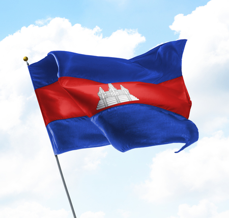 Flag of Cambodia Raised Up in The Sky