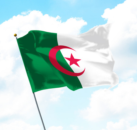 Flag of Algeria Raised Up in The Sky