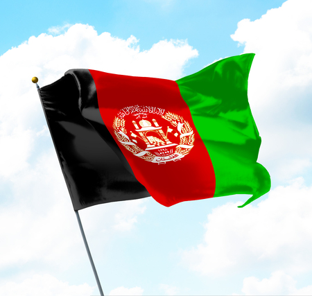 Flag of Afghanistan Raised Up in The Sky