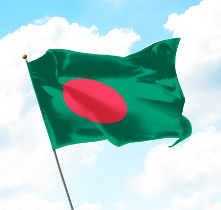 Flag of Bangladesh Raised Up in The Sky