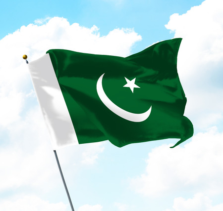 Flag of Pakistan Raised Up in The Sky