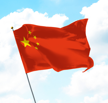Flag of China Raised Up in The Sky