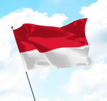 Flag of Indonesia Raised Up in The Sky