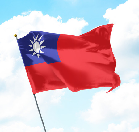 Flag of Taiwan Raised Up in The Sky