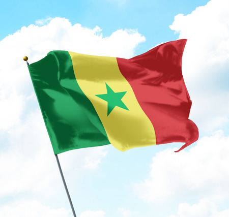 Flag of Senegal Raised Up in The Sky Stock Photo