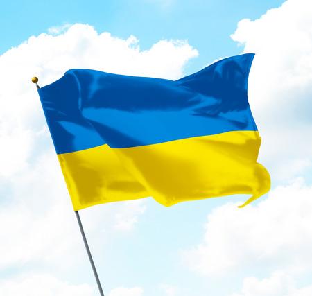 soviet flag: Flag of Ukraine Raised Up in The Sky