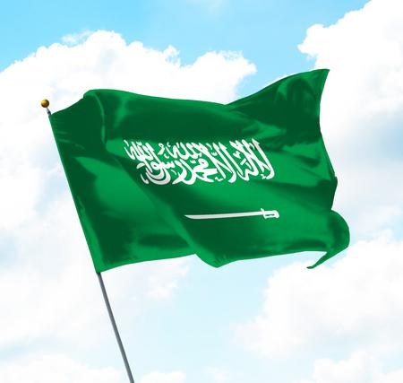 Flag of Kingdom of Saudi Arabia Raised Up in The Sky Stock Photo
