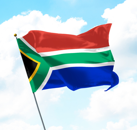 Flag of South Africa Raised Up in The Sky