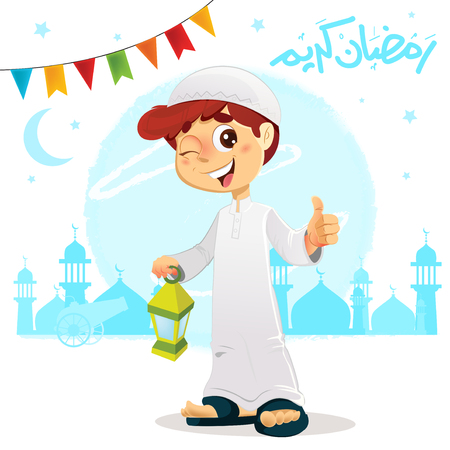Vector Illustration of Thumb Up Boy Celebrating Ramadan Wearing Djellaba