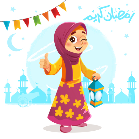 Vector Illustration of Thumb Up Young Girl Celebrating Ramadan
