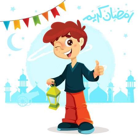 Vector Illustration of Thumb Up Young Boy Celebrating Ramadan Illustration