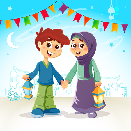 Vector Illustration of Muslim Boy and Girl Celebrating Ramadan