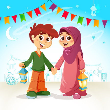 Vector Illustration of Young Muslim Boy and Girl Celebrating Ramadan Illustration