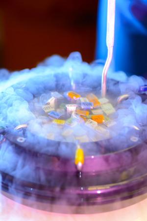 Eine flüssige Stickstoffbank mit Spermien und Eierproben Standard-Bild - 73585444