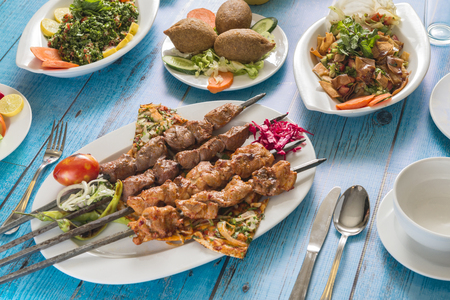 Traditional Syrian Cuisine, Grilled Kebab with Salads