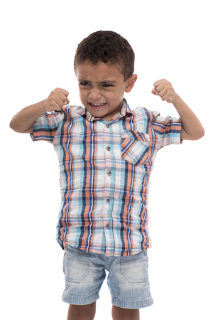 Young Powerful Angry Boy Isolated on White Stock Photo