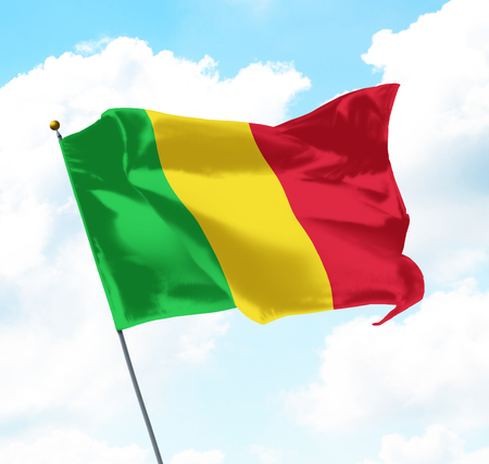 Flag of Mali Raised Up in The Sky