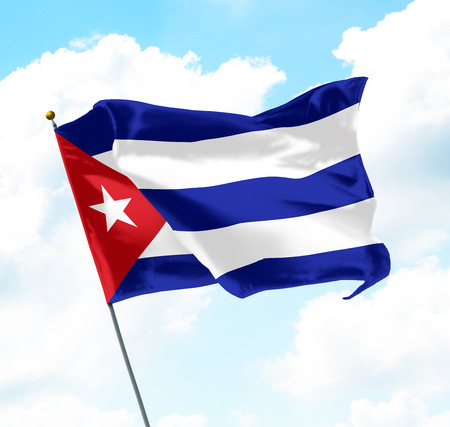 Flag of Cuba Raised Up in The Sky