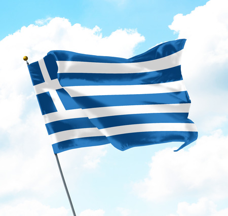 Flag of Greece Raised Up in The Sky