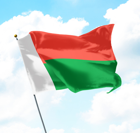 Flag of Madagascar Raised Up in The Sky