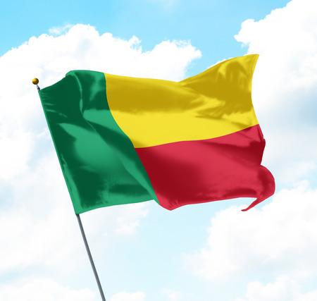 Flag of Benin Raised Up in The Sky