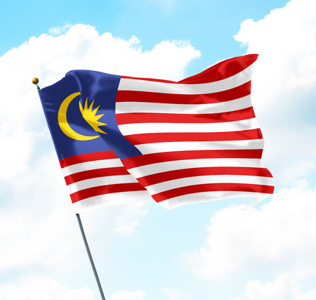 Flag of Malaysia Raised Up in The Sky