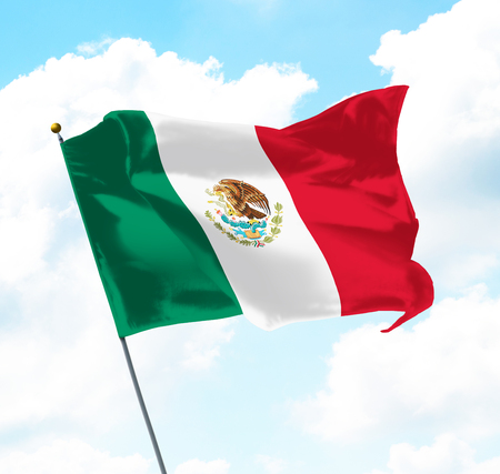 Flag of Mexico Raised Up in The Sky Stock Photo