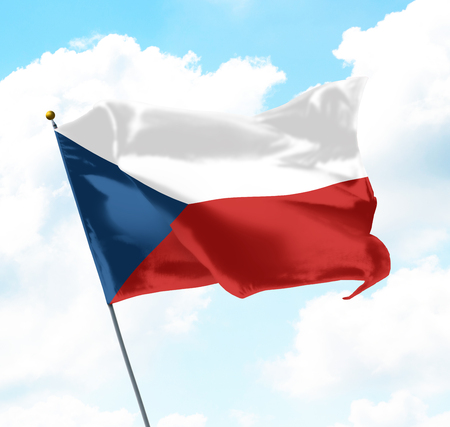 Flag of Czech Republic Raised Up in The Sky